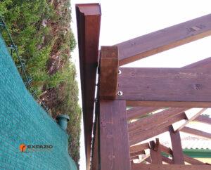 canalones en pérgola de madera